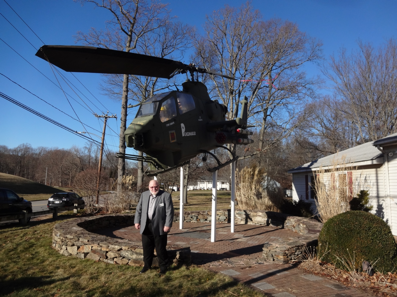 C I C Keith Harman at VFW Post 5095 Under the Cobra Helicopter