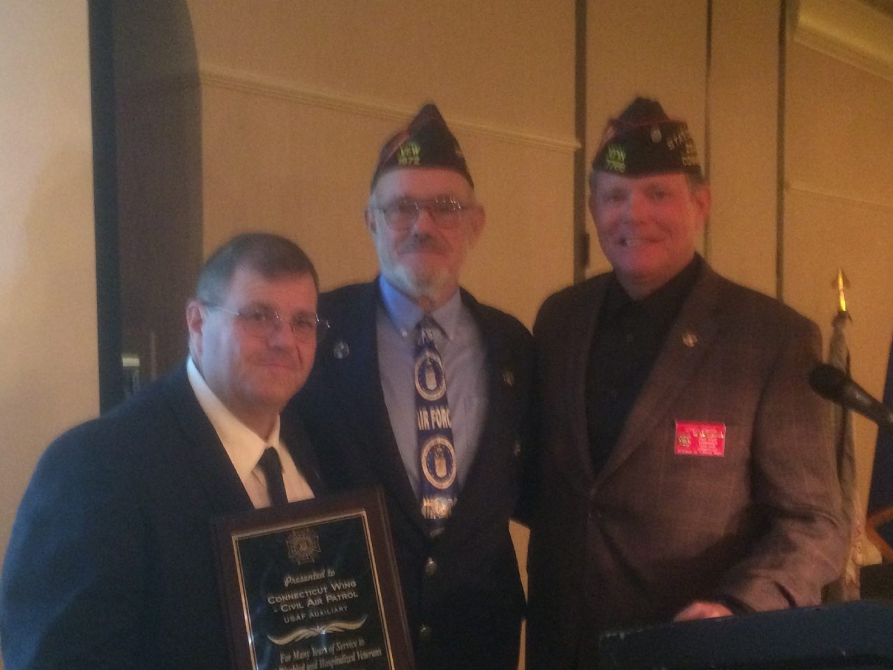 Honored to join VFW State Commander Jim Delancy in presenting an award for service to Colonel James Ridley and the Connecticut Civil Air Patrol and Air Force Cadet programs.