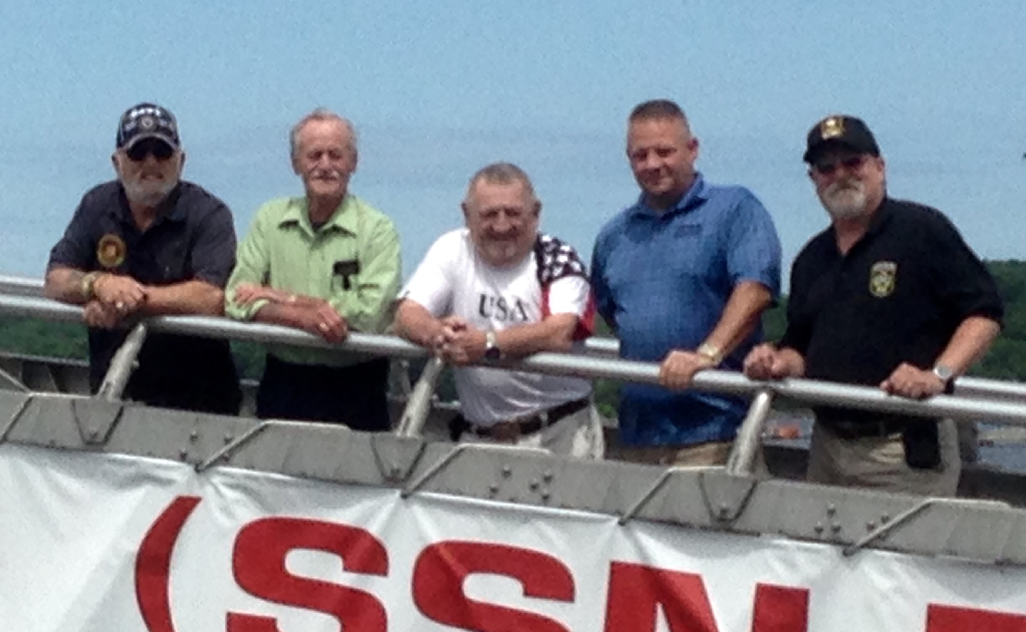Past State Commander Bob Priest, Rusty Meek, Bob Bailey and State Sr. Vice Commander Dave Greene aboard the Nautilus Submarine in Groton, with National VFW Programs Director Lynn Rolf